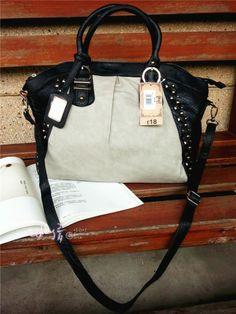 Rivet serpentine pattern embossed women's one shoulder handbag messenger bag black ash 580g