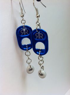Recycled Rockstar Pop Can Tab Earrings with Lampworked beads