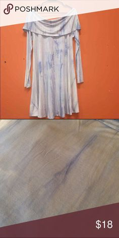 Pretty tiedye dress Hi-Low Tunic or dress.  33 inches front shoulder to hem.  36 inch back shoulder to hem.  Cowl neck, long sleeves.    Flowy cotton.  Size Large Dresses Mini