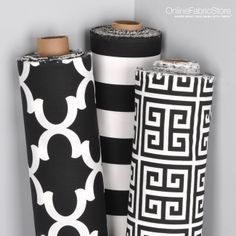 Black and white fabric by Premier Prints from OnlineFabricStore.net. Includes a stripe outdoor fabric