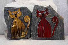 """""""Brother and Sister"""" Mosaic Cats on Rock by Chris Emmert"""