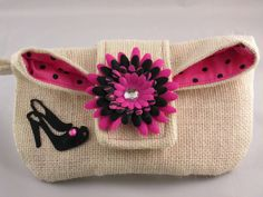 Burlap Wristlet Cosmetic bag  or grab and go bag with by ClemmieVs, $24.95