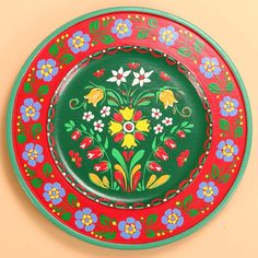 Hand-painted wooden plate (flower) Poland