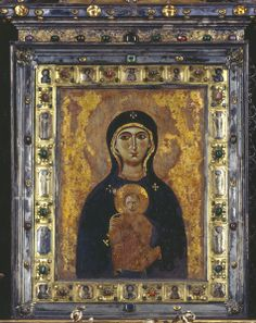 Byzantine, 9th century  Icon of the Virgin Nikopeia at the Altar of the Madonna  Tempera and enamel on wood  S. Marco, Venice