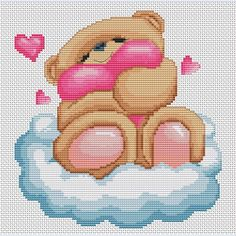 Teddy Bear on a Cloud - counted cross-stitch kit  - Luca-S