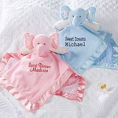 Personalized Elephant Baby Blankie - cutest new baby gift idea! You can pick your font and choose any thread color and they'll embroider it with any 2 lines that you want! Awesome personalized baby gift idea and who doesn't love elephants!
