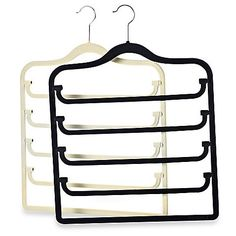 Put the vertical space to use in your closet with this sturdy, slim-design 5-tier pants hanger. The hinges make pants easy to access and the velvet-covered bars help keep clothing from slipping off.