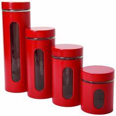 Anchor Hocking Kitchen Jar Set Kitchen Storage Cherry 4 Piece Set Glass Jars New #AnchorHocking