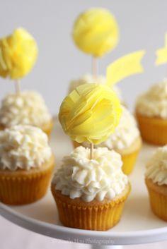 pom pom cupcake toppers.