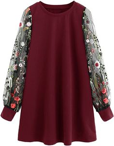 DIDK Round Neck Floral Embroidered Mesh Sleeve Pullover Tunic Dress Wine L - Tunic Dreses - Shop for Tunic Dreses for sales. - The post DIDK Round Neck Floral Embroidered Mesh Sleeve Pullover Tunic Dress Wine L appeared first on Dress Honey. Stylish Dresses For Girls, Stylish Dress Designs, Designs For Dresses, African Fashion Dresses, Fashion Outfits, Dress Fashion, Very Short Dress, Cosplay Dress, Cap Dress