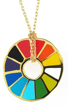Show your love for all the colors of the rainbow with our color wheel pendant. Cloisonné pendant Gilded in 22 karat gold, 18 karat gold dipped chain, diameter wheel Comes packaged in unique test tube glass packaging Unusual Presents, Gifts For An Artist, Chain Pendants, Girls Best Friend, Rainbow Colors, Bright Colors, Metal Working, Color Pop, Unique Gifts