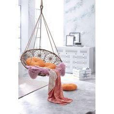 Hängesessel, hanging chair, boho interior, individuelle Ornamente, Metallgestell, Polypropylen Vorderansicht