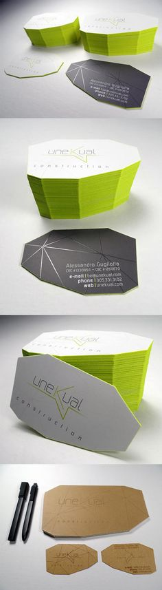 Unusual Faceted Die Cut Business Card With Lime Green Edge Painting