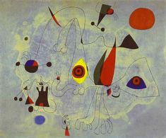 'Women and Birds at Sunrise', Oil by Joan Miro (1893-1983, Spain)