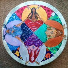 "Antlered Goddess & God 16"" Shamanic Drum by LauraRedWitch on Etsy"