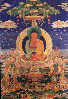 Amitabha/Amitayus Buddha - Pureland (Sukhavati) - Rubin Museum of Art - Central Tibet Amitabha Buddha, Gautama Buddha, Buddha Buddhism, Buddha Art, Buddha Painting, Dalai Lama, Karma, Tibet Art, Eastern Philosophy