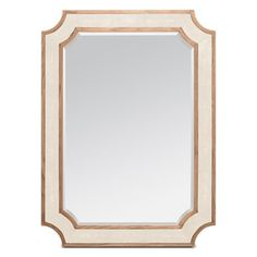 Starting with a clipped-corner rectangle shape of our Vincent mirror, we made the James using our detailed faux shagreen. Each piece has small, half-inch wood inner and outer bands, which frame beautiful faux shagreen panels.  Finish: Ivory