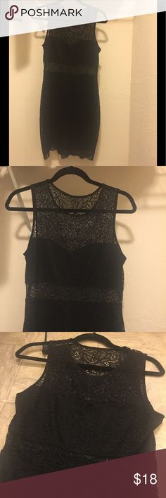 Express black lacy dress- cute LBD Very cute and comfortable black Express lace dress! Worn once. Size M. Open to offers! Dresses
