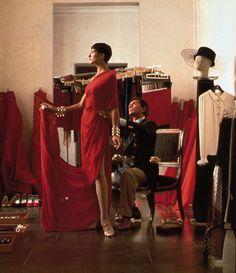 1979. Valentino in his atelier on Via Condotti, Rome