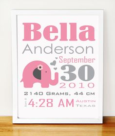 Baby Elephant Birth Announcement, pink and grey nursery wall print A277. $18.00, via Etsy.