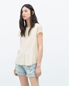 ZARA - WOMAN - LACE TOP WITH FRILLS