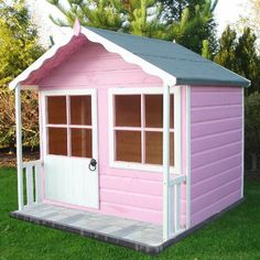 But painted blue and white Kitty Shiplap Wooden Playhouse - Home Delivered… Kids Wooden Playhouse, Outside Playhouse, Garden Playhouse, Childrens Playhouse, Build A Playhouse, Playhouse Outdoor, Outdoor Playground, Playhouse Ideas, Girls Playhouse