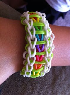 I want to learn to make these.Tunnel of color rubber band bracelet by KyraKreations on Etsy, $2.50