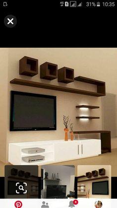 Tv Unit Interior Design, Bedroom Tv Unit Design, Tv Unit Furniture Design, Living Room Partition Design, Living Room Tv Unit Designs, Room Partition Designs, Ceiling Design Living Room, Tv In Bedroom, Lcd Wall Design