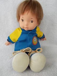 "Fisher Price Joey Lapsitter 14"" Boy Doll 1970s Joey in Football Jacket  #FisherPrice #Dolls"