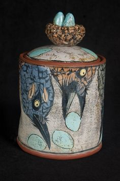 Lisa Naples's lidded jar. Lisa's studio is located in Doylestown, Pennsylvania. Naples was selected as Working Potter in the June/July/August 2012 issue of Ceramics Monthly. http://ceramicartsdaily.org/ceramics-monthly/ceramics-monthly-junejulyaugust2012/