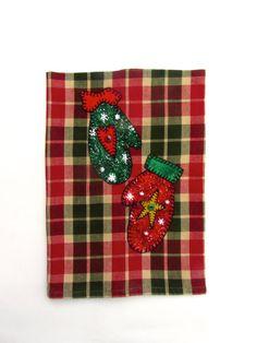 Christmas Snow Gloves Mittens Applique Christmas Tea Towel, Dish Towel, Hand Towel, Kitchen Towel, Christmas Decor, Holiday Decor