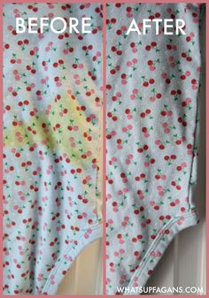 DIY green free laundry stain removal method for baby poop stains. Awesome before and after!