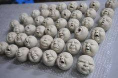 Wonderful clay baby heads with many expressions! From Pottery Farm Pottery Farm HK Fimo Clay, Ceramic Clay, Ceramic Pottery, Clay Dolls, Art Dolls, Sculpture Clay, Sculptures, 3d Figures, Clay Baby