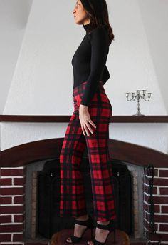 Vintage red black plaids checks 3/4 pants.size s