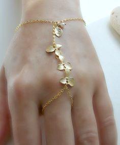14k Gold Filled Hand Chain Ring,3 Orchid Slave,Initial Hand Chain,Letter, Pearl,Ring Bracelet,Slave Bracelet,Finger Bracelet, Boho Chic by LetItBeLove on Etsy