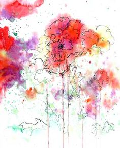 Watercolor pen and ink Watercolor Techniques, Art Techniques, Watercolor And Ink, Watercolor Flowers, Watercolor Clouds, Watercolor Ideas, Abstract Watercolor, Art Paintings, Watercolor Paintings
