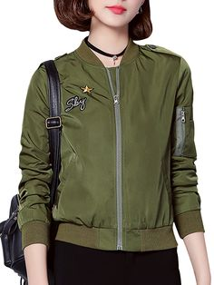 Sale 17% (27.69$) - Casual Army Green Long Sleeve Short Flying Bomber Jacket