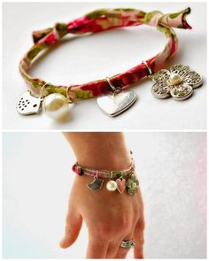 DIY Easy Fabric with Charms Bracelet Tutorial from Quinton...