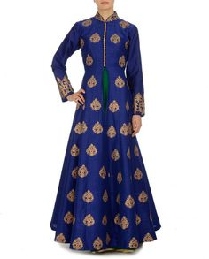 Golden Embroidered Royal Blue Jacket with Emerald Dress - I am guessing this is a Vietnamese Ao Dai inspired suit Ethnic Outfits, Indian Outfits, Indian Dresses, Indian Attire, Indian Ethnic Wear, Emerald Dresses, Ethnic Chic, Desi Clothes, Indian Clothes
