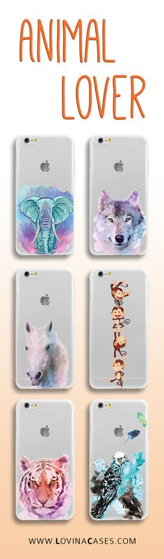 Pick a phone case with your favorite animal. So many to choose from! Tigers, Elephants, Lions, Birds, Horses, Monkeys, Wolves, and more.