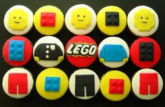 Idea for birthday- like the m cupcakes with the little Lego men on top.