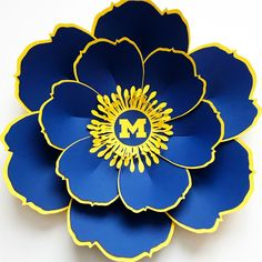 New Paper Flower Design made by The Crafty Sagittarius and inspired by The University of Michigan