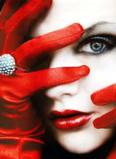 Fashion. Beauty. Makeup. Red lips. Red gloves. jewelry, ring. Eyes. Portrait. Wow. <3Love.!!