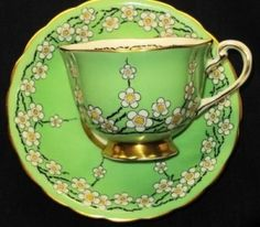 Royal Chelsea England Gold Footed Green White Blossom Tea Cup and Saucer by Janny Dangerous