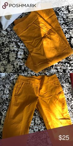 Gold/ mustard Stretchy Capri pants Stretchy pants with beautiful cut, with pockets on the front with hidden zipper. The color is rich and beautiful. Lane Bryant Pants Capris