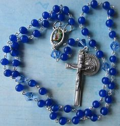 Police Rosary Serve and Protect blue, St Michael and Guardian Angel by #TripleTwisting on Etsy