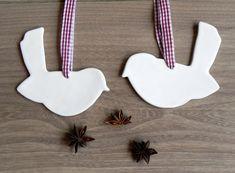 White Birds Ceramic Christmas Decoration Set of 2 by Ceraminic