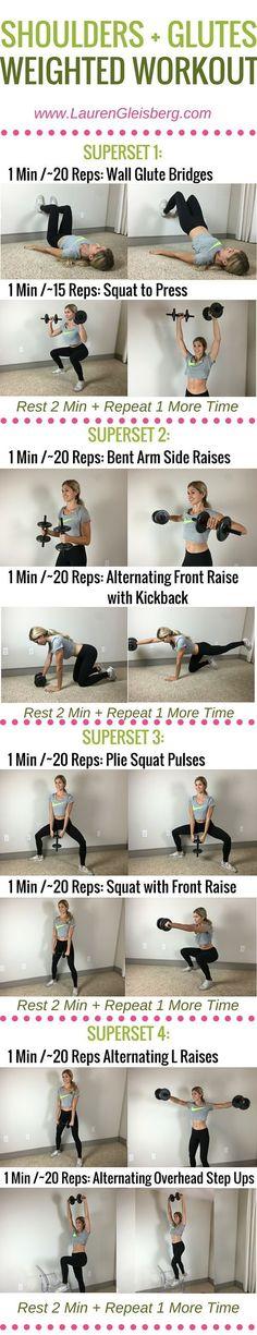 Week 4 Day 4 | Home & Gym Version | Shoulders + Glutes Weighted Workout | #LGFitmas Lauren Gleisberg
