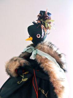 Black linen miss Birdy doll.