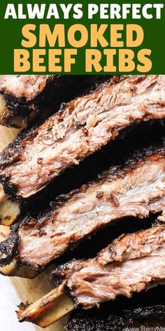 Juicy tender beef ribs perfectly cooked in your smoker! I used electric smoker f. - Juicy tender beef ribs perfectly cooked in your smoker! I used electric smoker for this recipe, use - Smoked Beef Ribs Recipe, Smoked Beef Short Ribs, Smoked Meat Recipes, Rib Recipes, Venison Recipes, Traeger Beef Rib Recipe, Beef Rib Dry Rub Recipe, Sausage Recipes, Short Ribs Smoker Recipe